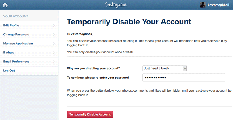 how-to-disable-an-instagram-account-temporarily  آموزش غیرفعال کردن موقت حساب کاربری اینستاگرام how-to-disable-an-instagram-account-temporarily