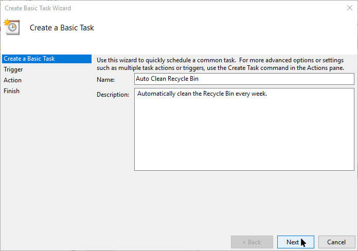 زمان بندی خودکار برای خالی کردن سطل آشغال ویندوز، Recycle Bin ،ترفند سطل آشغال، زمان بندی سطل آشغال ،مشکلات حسابداری ،پرسش وپاسخ تلفنی ، حسابداری هلو  زمان بندی خودکار برای خالی کردن سطل آشغال ویندوز زمان بندی خودکار برای خالی کردن سطل آشغال ویندوز empty-recycle-bin-windows-enter-name-and-description